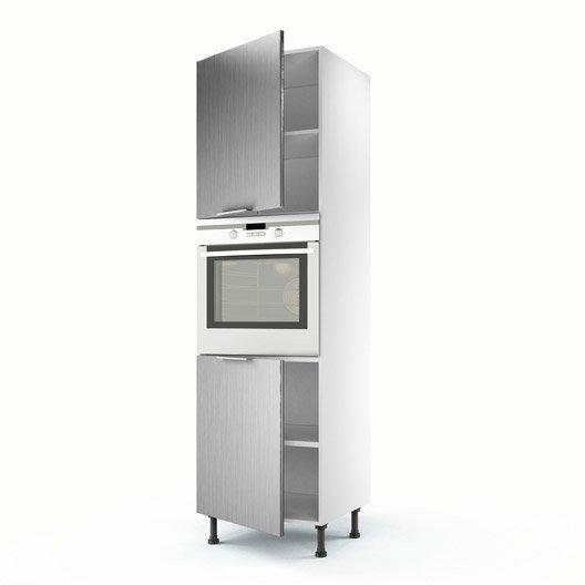 Meuble de cuisine colonne d cor aluminium 2 portes stil h - Meuble colonne cuisine 60 cm ...