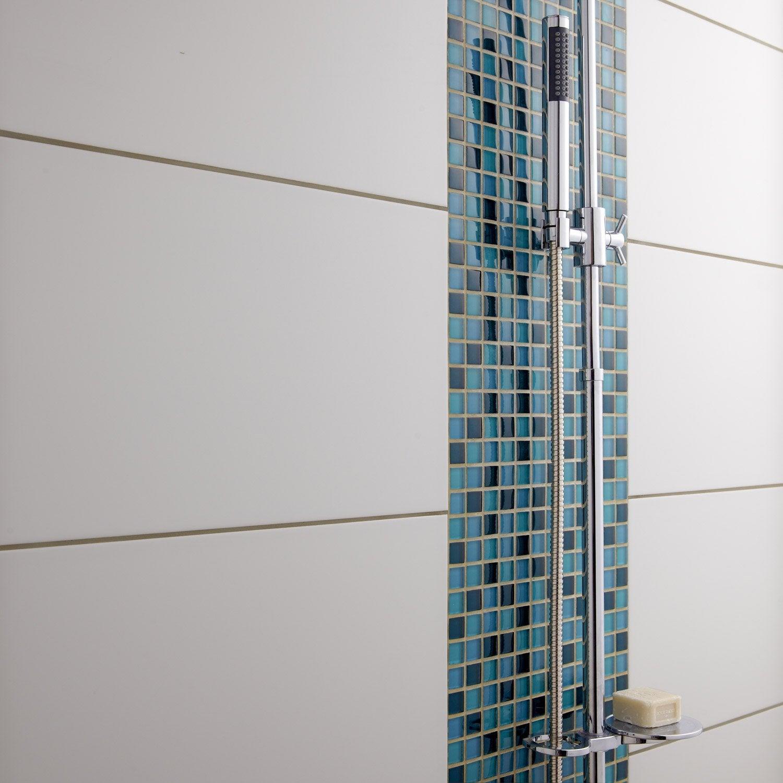 Faience Mur Blanc Brillant Rubix L30 X L60 Cm