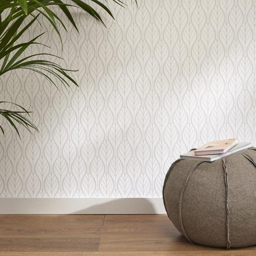 papier peint intiss feuille art deco gris leroy merlin. Black Bedroom Furniture Sets. Home Design Ideas