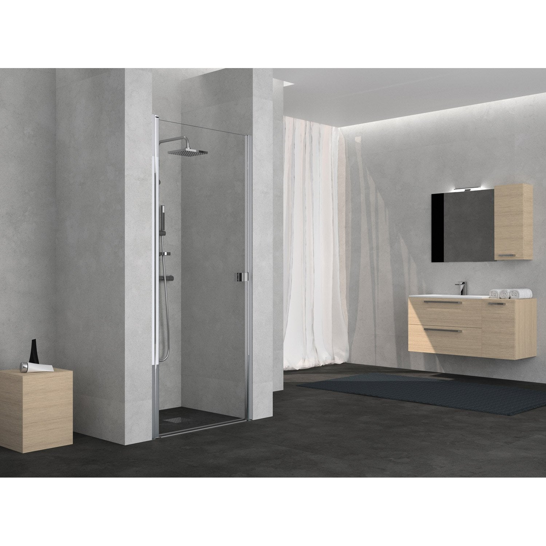 porte de douche pivotante 75 cm transparent neo leroy