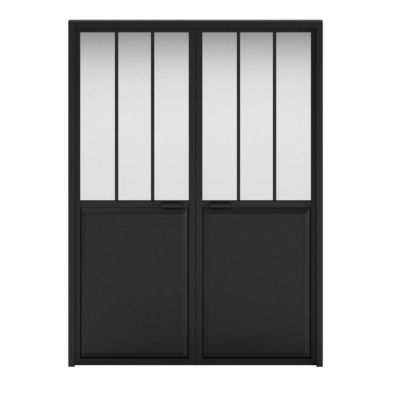 Bloc Porte Atelier Laquée Noir Artens H204 X L146 Cm Poussant
