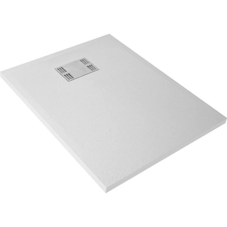 Receveur De Douche Rectangulaire L100 X L80 Cm Résine Blanc Slate