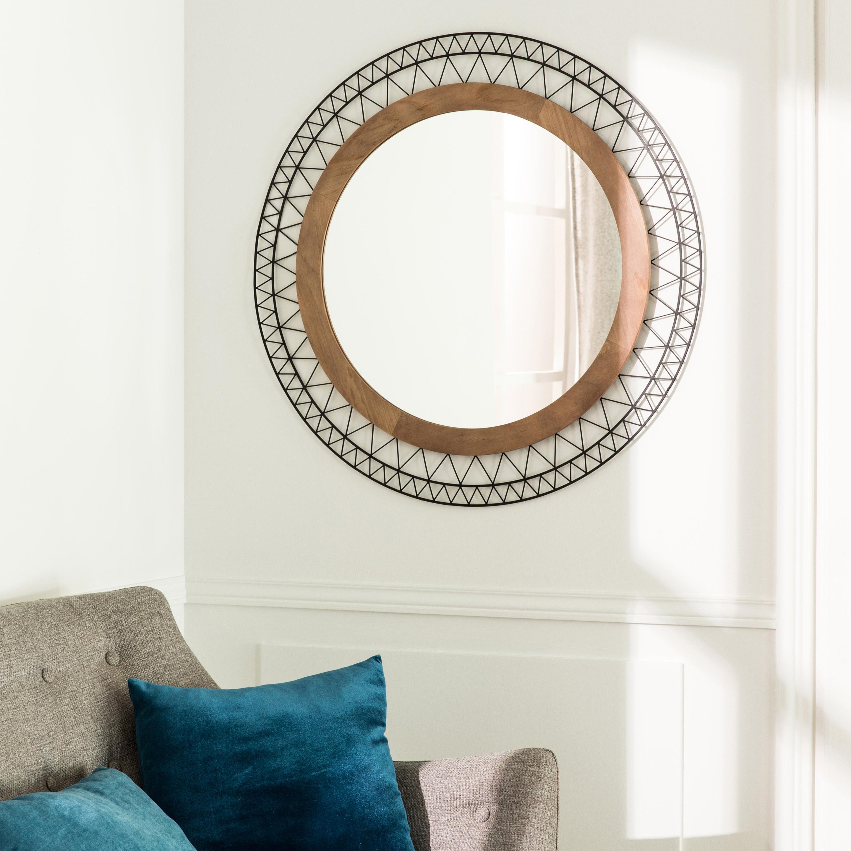 Miroir rond Manam, brun diam.50 cm