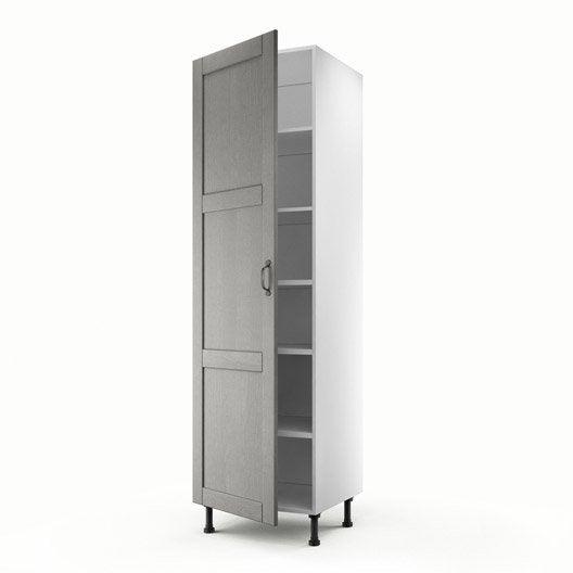 Meuble de cuisine colonne gris 1 porte nuage x for Porte de cuisine hauteur 60 cm