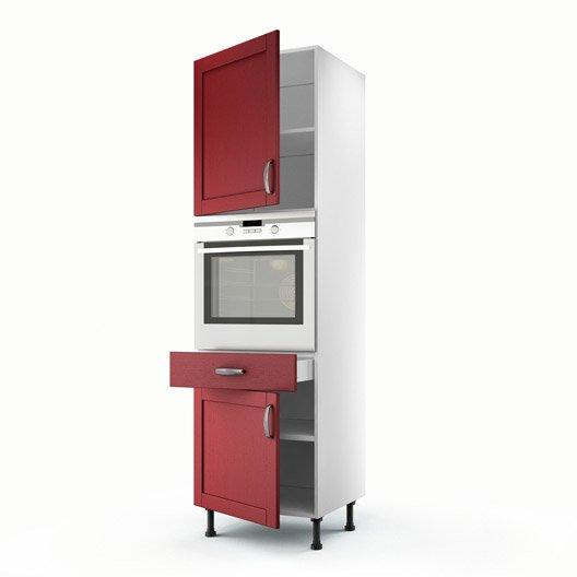 Meuble de cuisine colonne rouge 2 portes 1 tiroir rubis - Colonne de cuisine 60 cm ...
