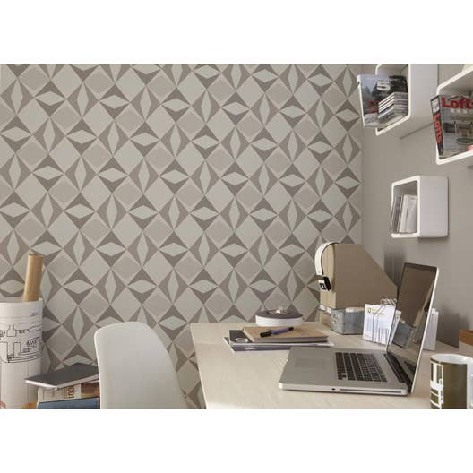 Papier peint intissé Losange gris | Leroy Merlin
