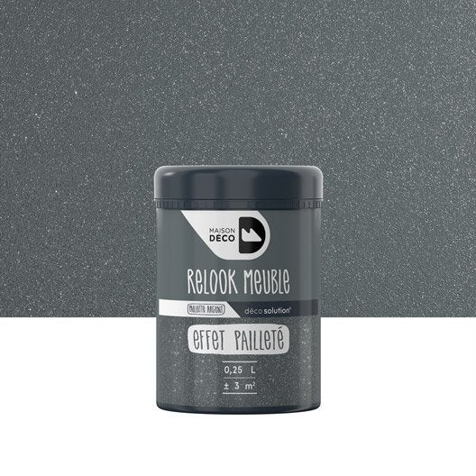 Gel paillet relook meuble maison deco transparent 0 25 l leroy merlin for Peinture a paillette avis
