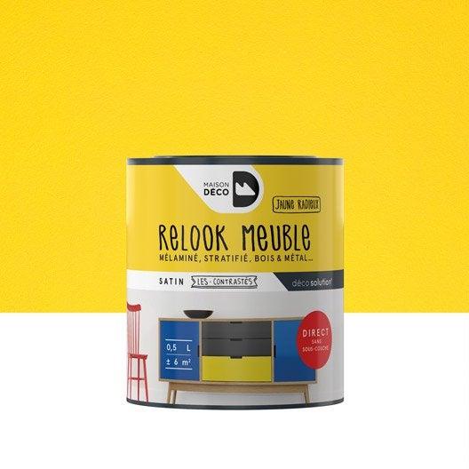 Peinture pour meuble relook meuble maison deco jaune 0 5 l leroy merlin for Peinture relooking v