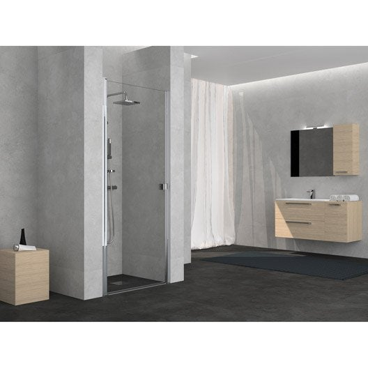 porte de douche pivotante 70 cm transparent neo leroy merlin. Black Bedroom Furniture Sets. Home Design Ideas