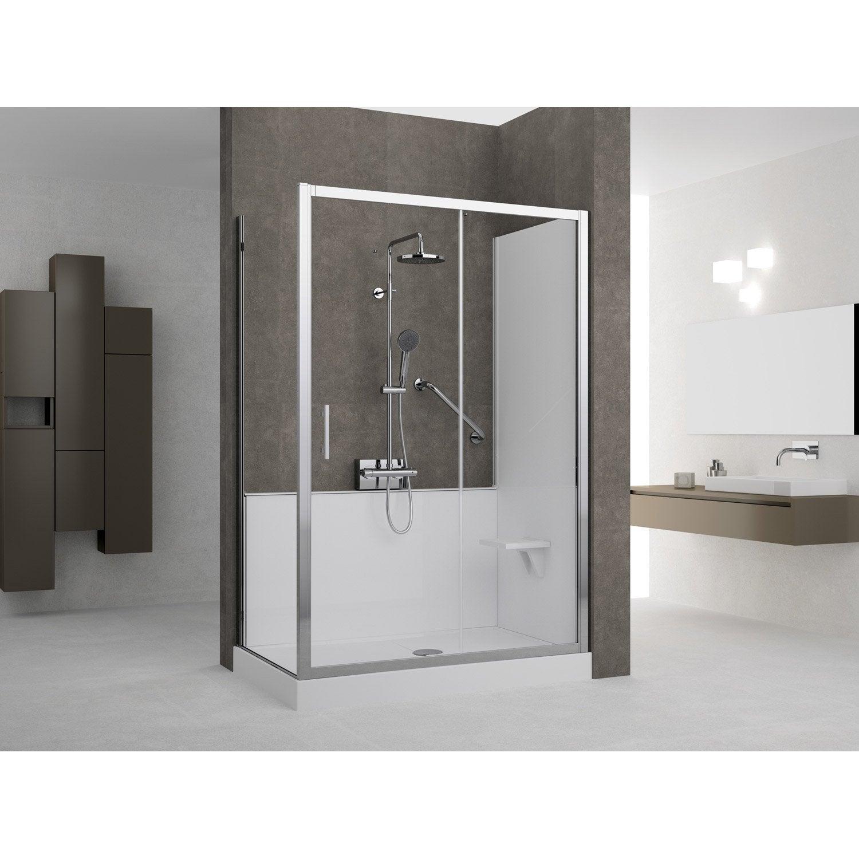 kit de remplacement baignoire par douche en angle 70x140 cm elyt evolution 2 0 leroy merlin. Black Bedroom Furniture Sets. Home Design Ideas