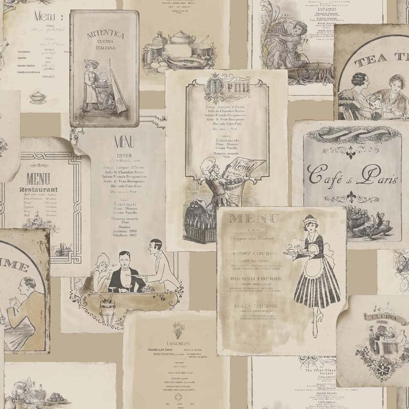Papier Peint Vinyle Motifs Cuisine Anciens Menus Beige