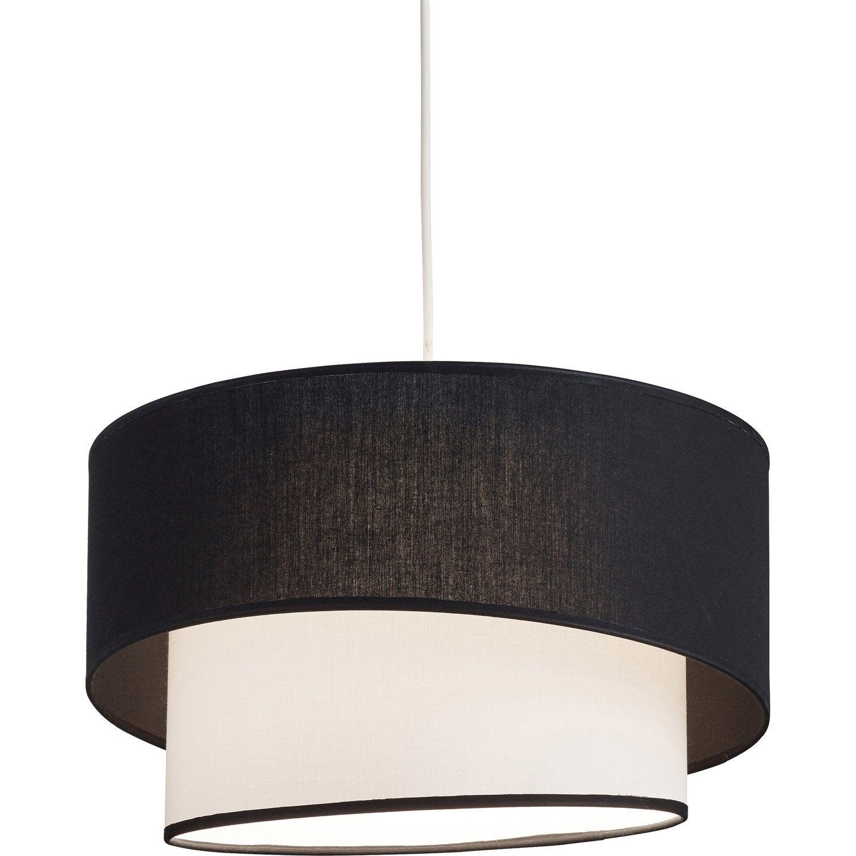 Suspension, e27 classique chic Ionos coton noir - blanc 1 x 60 W METROPOLIGHT