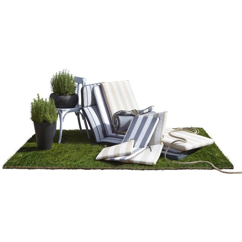 coussin d 39 assise de chaise ou de fauteuil blanc gris biarritz 89 x 39 cm leroy merlin. Black Bedroom Furniture Sets. Home Design Ideas
