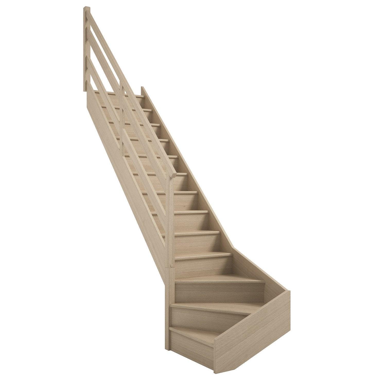 escalier soft quart tournant bas gauche h274 rampe wood structure marche bois leroy merlin. Black Bedroom Furniture Sets. Home Design Ideas
