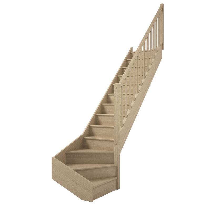 Escalier 14 Tournant Bas Droit Bois Hêtre Soft Classic 13 Marches Hêtre L280