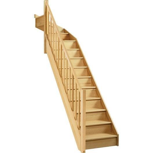 escalier soft quart tournant haut gauche h274 rampe classic bois leroy merlin. Black Bedroom Furniture Sets. Home Design Ideas