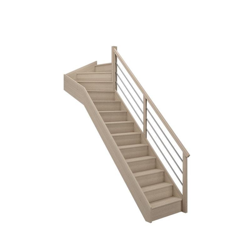 Escalier 14 Tournant Haut Droit Bois Hêtre Soft Tubes 13 Marches Hêtre L80