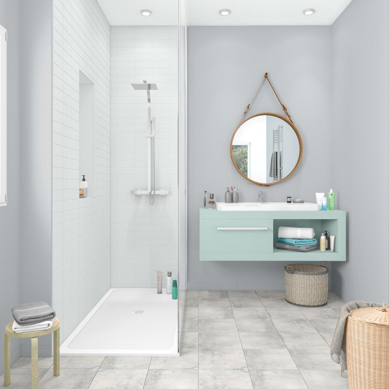 Petite salle de bains grise avec douche | Leroy Merlin
