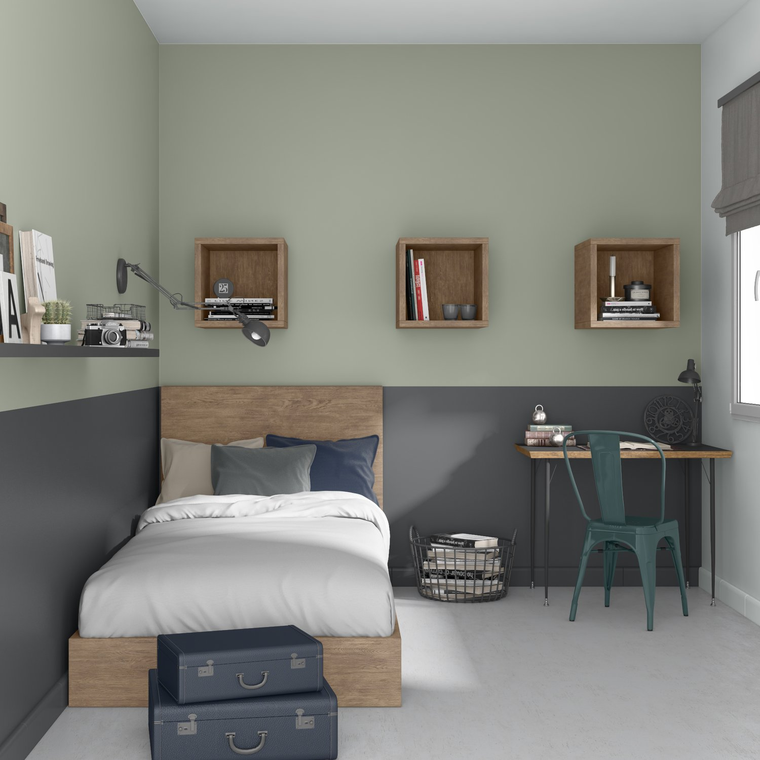 Awesome Chambre Ado Grise Et Verte Pictures - House Design ...