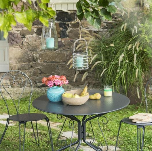 Salon de jardin Romantique gris anthracite, 2 personnes | Leroy Merlin