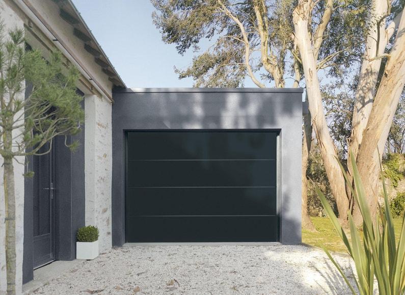 Porte De Garage Sectionnelle Motorisée Artens Premium 200x250 Noir