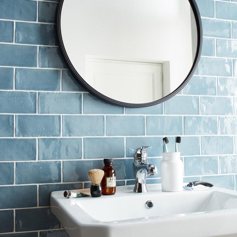 Carrelage mur uni bleu grise brillant l.7.5 x L.15 cm, Bakerstreet