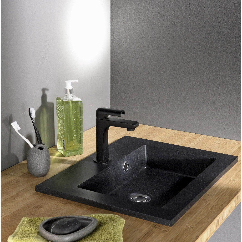 Vasque à encastrer résine de synthèse l.50 x P.40 cm noir Polly