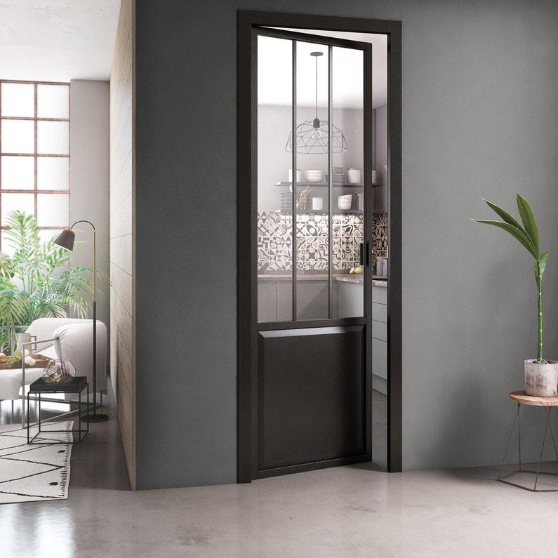Bloc Porte Atelier Xxl Bâti Ajustable H 220 X L 93 Cm Laquée Noir Artens Pd