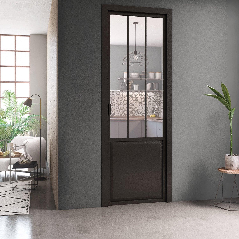 Bloc Porte Atelier XXL H.220 X L.93 Cm Noir Verre Clair