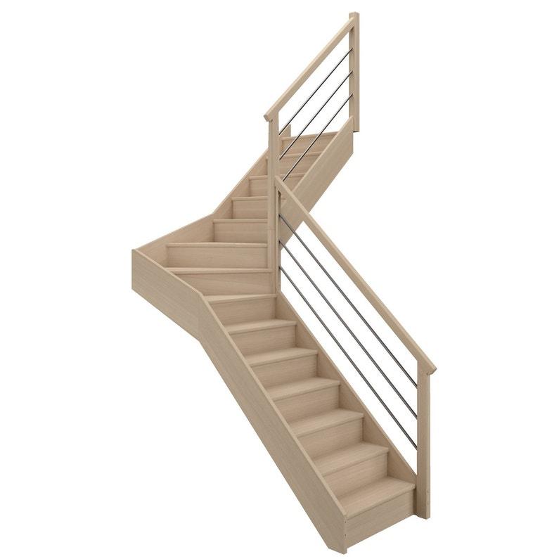 Escalier 1 4 Tournant Milieu Droit Bois Hetre Soft Tubes 14 Marches Hetre L 80