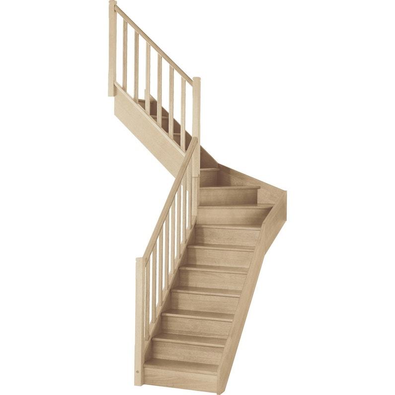 Escalier 1 4 Tournant Milieu Gauche Bois Hêtre Soft Classic 14 Mar Hêtre L 80