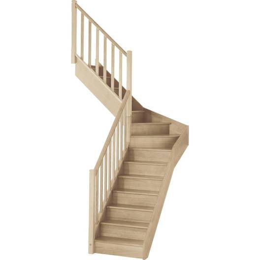 escalier soft quart tournant interm diaire gauche h274 rampe classic bois leroy merlin. Black Bedroom Furniture Sets. Home Design Ideas