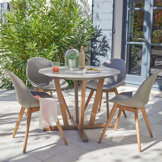 Salon de jardin St tropez aluminium taupe, 4 personnes | Leroy Merlin