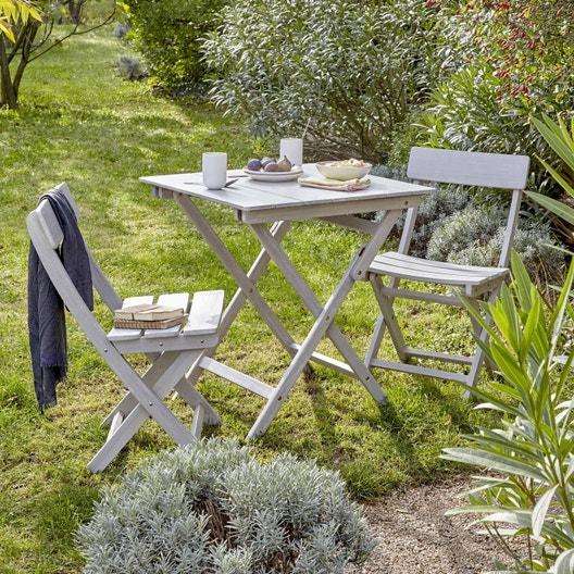 Salon de jardin Portofino bois gris, 2 personnes