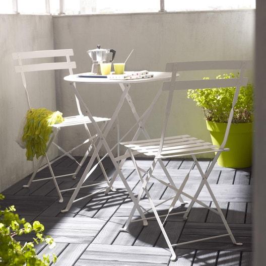 Salon de jardin Flore acier blanc, 2 personnes | Leroy Merlin