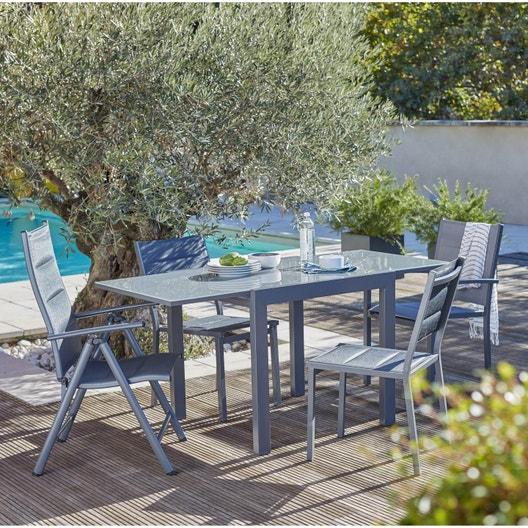 Salon de jardin Lisboa aluminium gris, 2 personnes | Leroy Merlin