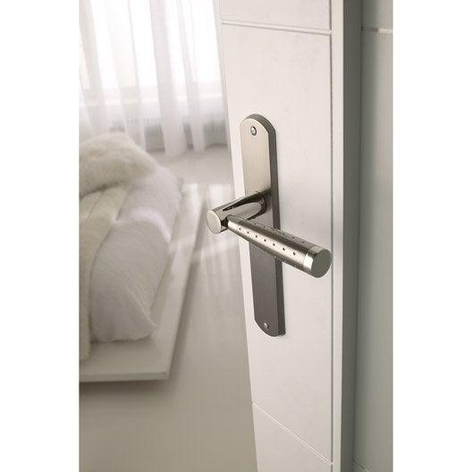 2 poign es de porte nine sans trou zinc nickel 195 mm leroy merlin. Black Bedroom Furniture Sets. Home Design Ideas
