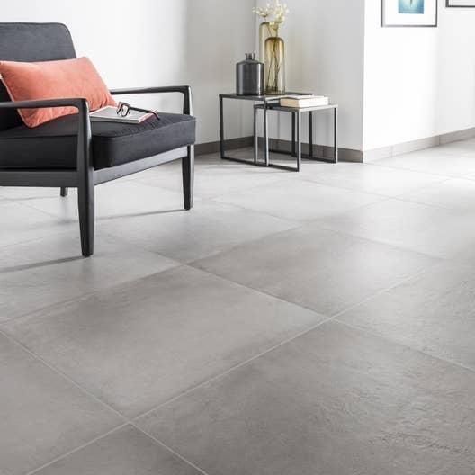 Carrelage sol et mur gris ciment effet b ton time x cm leroy merlin - Salon gris beton ...