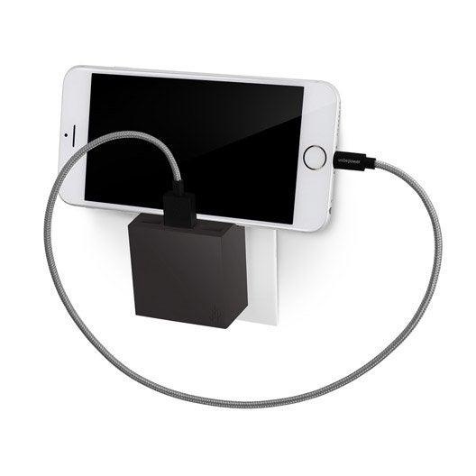 chargeur usb sans fil 3 prises noir leroy merlin. Black Bedroom Furniture Sets. Home Design Ideas