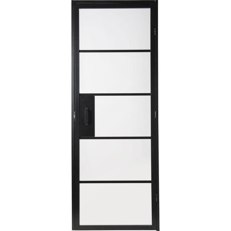 Bloc Porte Verrière Vitré Chloé Noir H204 X L73 Cm Poussant Droit