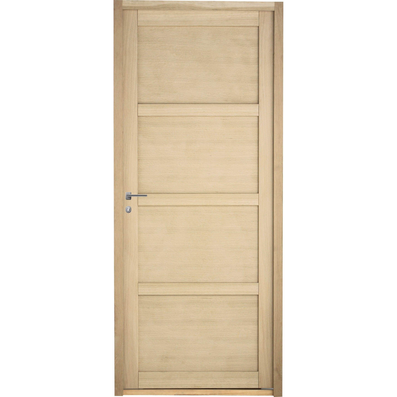 Bloc-porte bois Pin Paris, chêne H.204 x l.73 cm, poussant droit