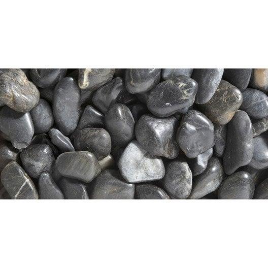 galets pierre naturelle noir zen 50 70mm 25 kg leroy merlin. Black Bedroom Furniture Sets. Home Design Ideas