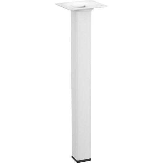 pied de table basse carr fixe acier poxy blanc 25 cm. Black Bedroom Furniture Sets. Home Design Ideas