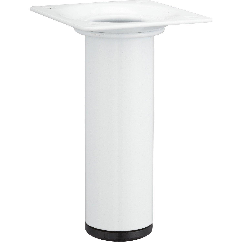 pied de meuble cylindrique fixe acier poxy blanc 10 cm leroy merlin. Black Bedroom Furniture Sets. Home Design Ideas