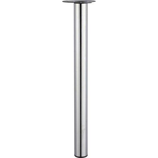 Pied de table cylindrique r glable acier chrom gris de - Pied de table 90 cm ...