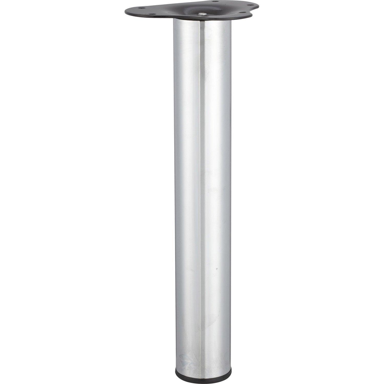 Pied De Table Basse Cylindrique Reglable Acier Chrome Gris De 40 A