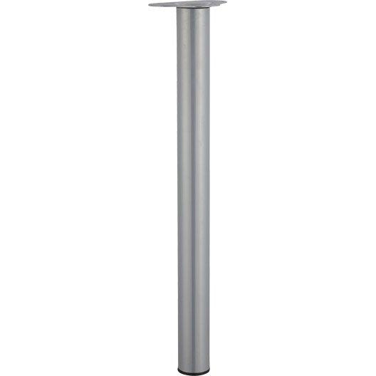 Pied de table cylindrique réglable acier mat gris, de 70 à 73 cm ...