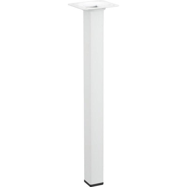 Pied De Table Basse Carré Fixe Acier époxy Blanc 30 Cm