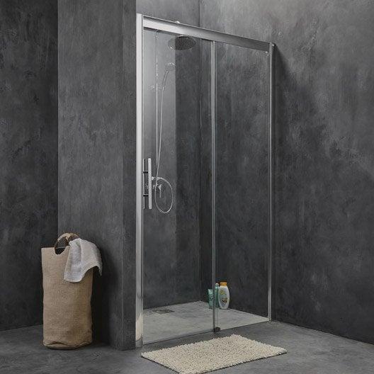 Porte de douche coulissante 121 cm, transparent, Adena