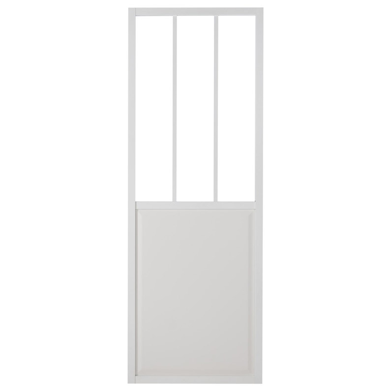 Porte Coulissante Aluminium Blanc Atelier Verre Clair Artens H 204 X L 83 Cm